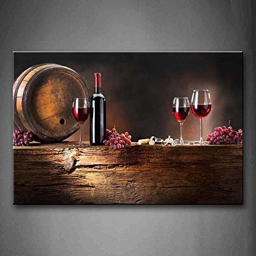 Braun Wein Mit Trauben Und Fass. Wandkunst Malerei Das Bild Druck Auf Leinwand Essen Kunstwerk Bilder Für Zuhause Büro Moderne Dekoration (Bilder Und Wein Trauben)