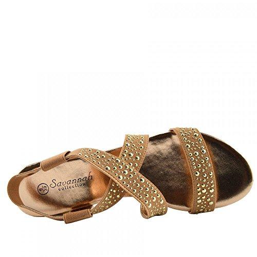 Kick Footwear - Donna diamante cuneo slip on dressy parti della piattaforma sandali Oro Rosa F10735