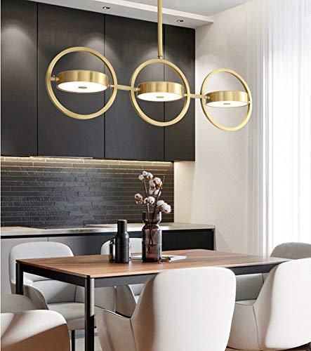 FEE-ZC Led Hängeleuchte Ring -Kronleuchter Modern Gold, Acryl Messing Led Metall Gold Dimmbar 220V Schlafzimmer Restaurant Wohnzimmer, 522 -