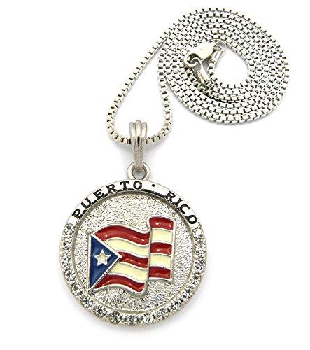 Flagge von Puerto Rico inklusive Halskette – 2 mm 61 cm Boxer-Halskette im Silber-Ton (Rico-boxer Puerto)