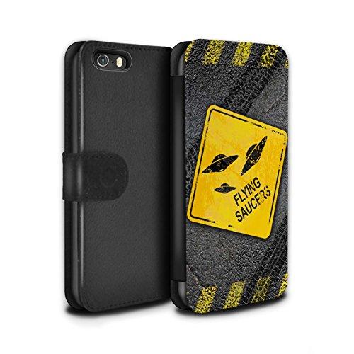 STUFF4 PU-Leder Hülle/Case/Tasche/Cover für Apple iPhone SE / Pack 10pcs Muster / Lustige Wegweiser Kollektion UFO