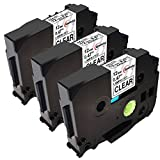 Upwinning kompatibel Schriftbänder als Ersatz für Brother P-touch TZe-131 12mm schwarz auf transparent Schriftband, TZe131 Etikettenband für Ptouch h100lb h101c 1000 1005 1010 D400 1010, 3er-Pack