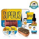 Kit de Cuidado de Barba Para Hombre con Caja Metálica de Regalo - Incluye Aceites para Barba, Cera Bálsamo Barba y Bigote, Cepillo Barba, Peine Barba, Tijeras Acero Inoxidable - regalo para novio