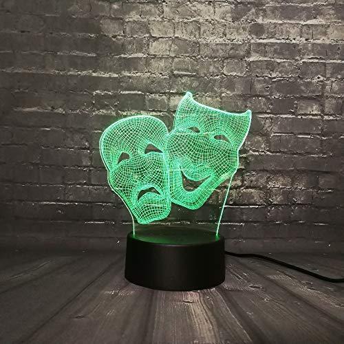 Mddjj Dionysus Komödie Und Tradegy Maske 3D Led Nachtlicht Figur Cartoon Charakter Lava Lampara Dekoration 7 Farbwechsel Junge Kid Spielzeug Schlafzimmer Licht