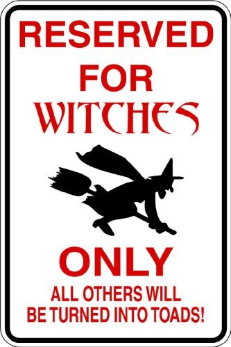 Parking Only Sign : Reserved For Witches - Picture Art - Peel & Stick Vinyl Wall Decal Sticker Size : 8 Inches X 16 Inches - 22 Colors Available by Design With Vinyl Decals -