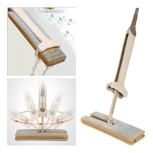 Shopizone® Double Sided Free Hand Floor Celeing Glass Washing Mop with 360 Degree Rotatational Head (Brown)