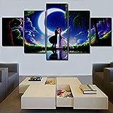 Mddrr Wandkunst Leinwand Malerei Für Moderne Wohnzimmer Home Dekorative 5 Stücke Nacht Landschaft Anime Liebe Romantische Modular Bild