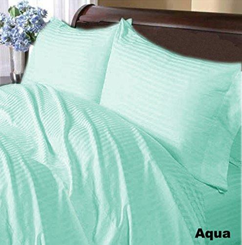 SRP Linen Ägyptische Baumwolle Super Soft 500Fadenzahl 500TC flach oder Top Tabelle mit extra Kissen UK King Aqua gestreift 100% Baumwolle Italienisches Finish -