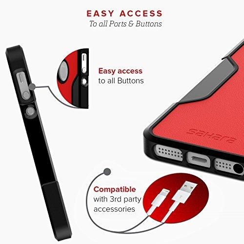 Coque iPhone 5 SE 5s, (Noir, Rouge) SaharaCase® + [film protecteur ZeroDamage en verre trempé] kit de protection accompagné d'un et d'une protection de saisie antidérapante [antichocs] a