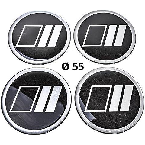 4x Silicona/Emblema para tapas de buje | Diseño de etiqueta: Lines, diámetro: 55mm