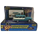 Road Champs 1955 Pontiac Safari Authentic Fabulous Fifties Billboard 1:43 Scale Blue Diecast Car Replica