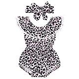 JERFER Kinder Mädchen Leopard Rüschen Quaste Strampler Badebekleidung Badeanzug
