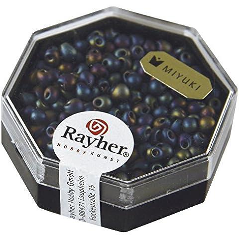 RAYHER - 14722990 - Miyuki-perla-Drop, metallizzato ghiaccio, Ø 3,4 mm, arcobaleno, Dose 6 G