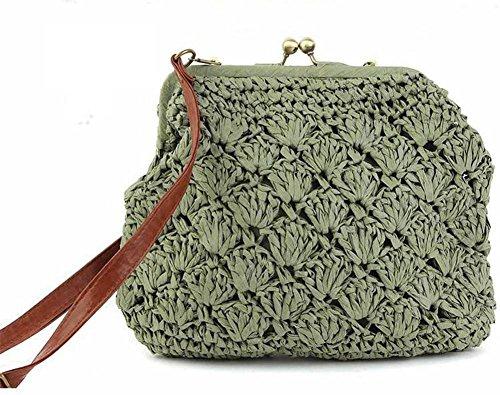 Shell Straw Crossbody Bag tessuto Solid Color Donne Maglieria Leisure Tote Summer Beach viaggio , white army green