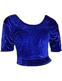 Blau Choli (Sari Oberteil) Samt Gr. S bis 3XL ideal für Bauchtanz
