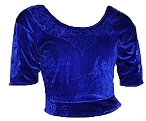 Trendofindia Trendofindia Blau Choli (Sari Oberteil) Samt Gr. S bis 3XL ideal für Bauchtanz (M)