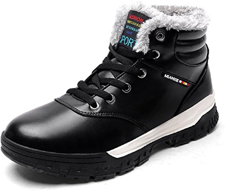 Gomnear Hombre Botas de nieve zapatos para caminar ligero de invierno con cordones antideslizante con zapatillas