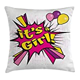 Gender Reveal Decorations Throw Pillow Cushion Cover, Pop Art Style It's A Girl Quote Comic Strip with Balloons, Decorative Square Accent Pillow Case, 18 X 18 inches, Pink Purple Yellow