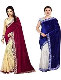 G Stuff Fashion Women Velvet Saree with Blouse piece_SE_Blue & Maroon Velvet
