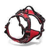 No-Pull Hundegeschirr Einstellbar Weste Brustgeschirr mit 3M Reflektierende Weich Gepolstert (M-Brust Größe: 56-69 cm, Rot)