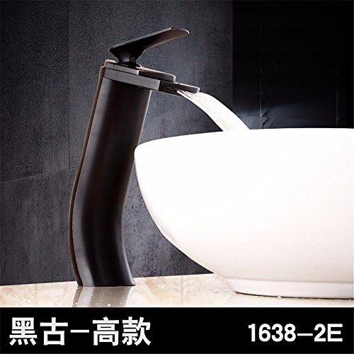 YSRBath Moderne Waschbecken Waschtischarmatur Antike Kupfer Heiße und Kalte Einloch Waschtisch Armatur Wasserfall Mischbatterie Bad Küche Wasserhahn Badarmatur