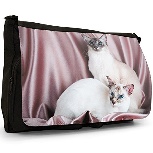 Fancy A Bag Borsa Messenger nero Russian Blue Cat Pair Of Siamese Cats