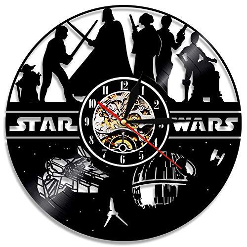 OLDFAI Reloj De Pared De Vinilo, con Patrón Star Wars Diseño 3D Decoración Familiar Salón Restaurante...