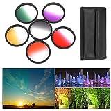 BPS 58mm 6pcs Filtro de Color Graduado ( Graduado filtro de color Grís Rojo Naranja Amarillo Verde Púrpura ) + bolsa de Filtro + Set de limpieza para Canon Nikon Sony Pentax Sigma y Otros lente de cámara con 58mm filtro Tamaño
