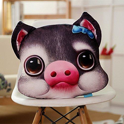 KTLA 3D Kreatives Drucken Tier Fliege Schwein Plüsch Kissen Sofa Auto Dekorative Kissen, PP Baumwolle 100% Kristall Samt, Kreative Geburtstagsgeschenk Lustige Haustier Puppe (40 × 32 cm, 1 stück)
