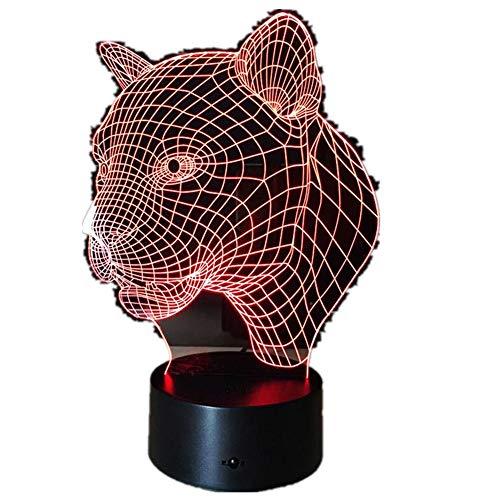 Cartoon Leopard Animal 3D Schreibtisch Tischlampe / 7 Farben Nachtlicht/Touch Lampe/Kinder Halloween Geschenk3D