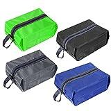 Tragbare Reiseschuhtasche aus Nylon mit Reißverschluss für Herren und Damen, wasserfest, bunt, 4er-Pack