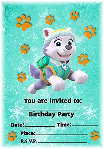 Paw Patrol Party lädt – Everest Design – Party Supplies/Zubehör (12 Stück A5 Einladungen) WITH Envelopes