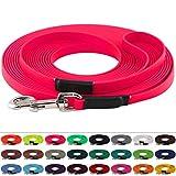 LENNIE BioThane Schleppleine 16 mm breit, 25 Farben/Neon Pink, 1-30 Meter / 10 m, Handschlaufe, genäht