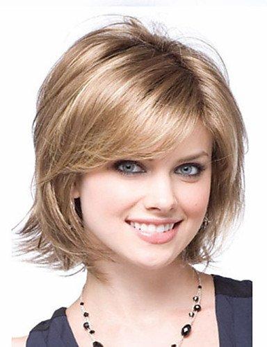 Perruque & xzl Perruques Fashion femmes blondes et brunes dame bouclés courts perruques de cheveux synthétiques