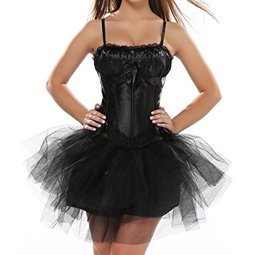 Padded Bra Straps Corsets with tutu Skirt /New Swan Dress (EUR(34-36) M, Schwarz)