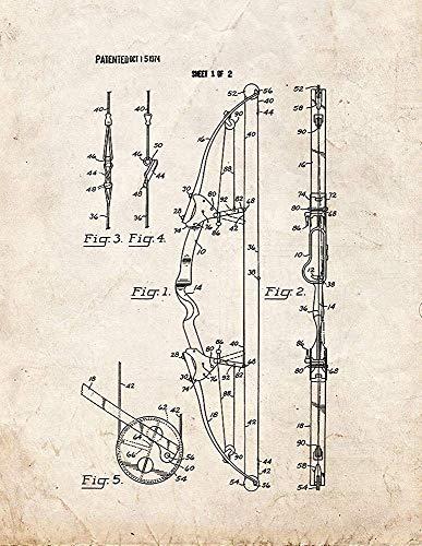 EBONI ELLIOTT Compound Archery Bow Patent Print Old Look (8.5