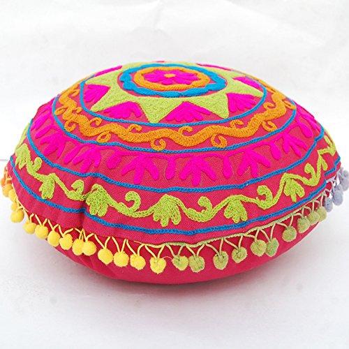 CRAFTOFPINKCITY 2 Stück indischen Vintage osmanischen indischen Kissenbezug bestickt rund Pouf 40,6 cm Suzani Kissen Fall -