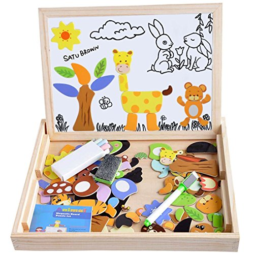 Double-Sided Chalkboard and Magnetic Board Animal Nature Themed Jigsaw Puzzle Games 100 Pieces Wooden Toy for Kids , Satu Brown Drawing Easel Popular Educational Learning Toys