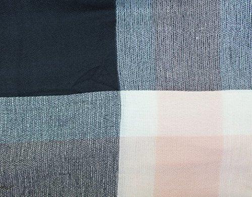 CAPRIUM XXL Damen Schal Kariert übergroßer quadratisch Deckenschal Karo Tartan Streifen Plaid Muster Oversized Fransen Poncho (Schwarz Rosa) - 4