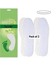 2 paires de semelles intérieures en tissu éponge HappyStep® lavables et réutilisables, Portez vos chaussures sans chaussettes grâce aux semelles intérieures en tissu éponge
