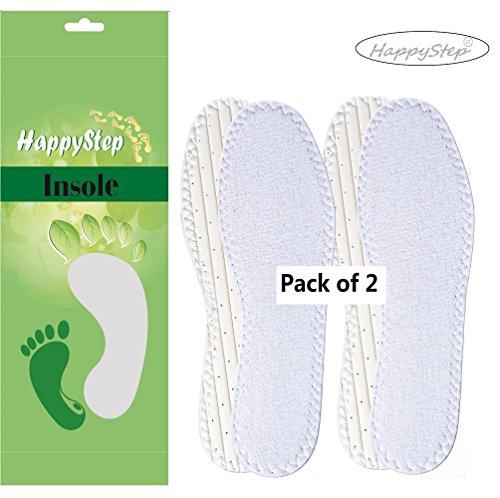 HappyStep® 2 paia di solette in spugna, solette per piedi nudi, lavabili e riutilizzabili - Cammina senza calze con le solette in spugna HappyStep per piedi nudi! (Men Siz EU 43)