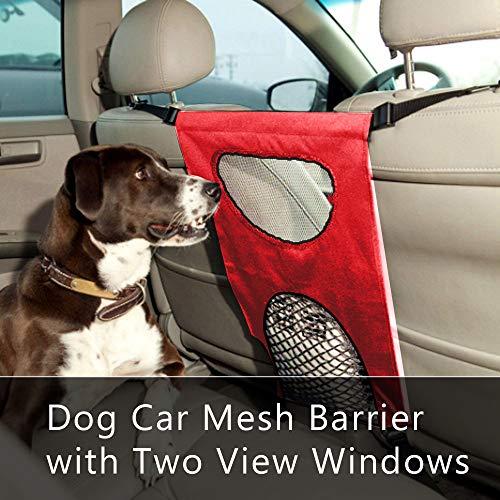 Festnight Hund Auto Barriere Vordersitz Pet Barrier Mesh Hindernis mit Zwei Sichtfenstern verhindern Störungen von Hunden Kinder (Vordersitz Barriere)