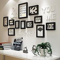 Global- Ensemble de 11 cadres, cadres en bois de pin cadres de photo noir et blanc fond de mur de photo de fond de combinaison pour le salon / avec des images ( Couleur : Noir )
