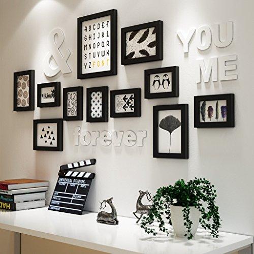Ensemble de 11 cadres, cadres en bois de pin cadres de photo noir et blanc fond de mur de photo de fond de combinaison pour le salon/avec des images @The harvest season (Couleur : Noir)