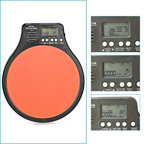 Neewer®-in Digital LCD Display Portable Drum Schlagzeug Practice Pad Metronom Drummer Training Pad mit verstellbarem Rhythm Beat Tempo (orange) (Lcd-training)
