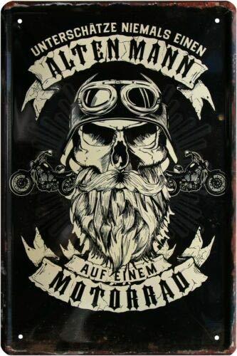 Unterschätze Niemals einen Alten Mann Biker 20x30 cm Blechschild 314