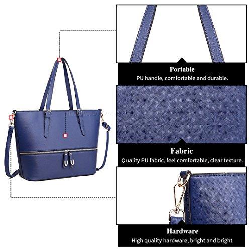 Miss LuLu Handtasche Große Tote Bag Umhängetasche Vintage Schultertasche Shopper Taschen Henkeltasche PU-Leder LT1740-Dunkelblau