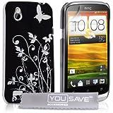 Yousave Accessories Schutzhülle für HTC DesireX, Blumendesign, Schwarz/silberfarben