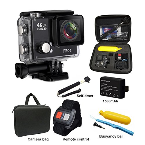 [2017 Upgrade-Version] PR04 4K Sport Action-Kamera Ultra HD Camcorder 2.0 Zoll LCD-Bildschirm 20MP WiFi Wasserdichte Kamera 170 Grad Weitwinkel mit Kamera Tragen Fall und Zubehör Kits