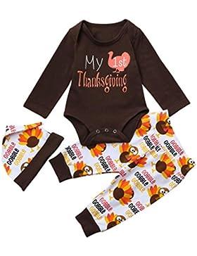 K-youth® Acción de Gracias Bebe Niña Ropa Recien Nacido Niño Otoño Ropa y Pantalones y Sombrero